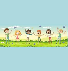 six happy kids vector image