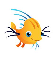 small cute yellow fish sea tropical aquarium vector image
