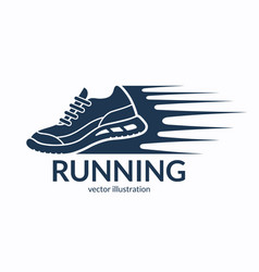 speeding running shoe icon symbol or logo vector image