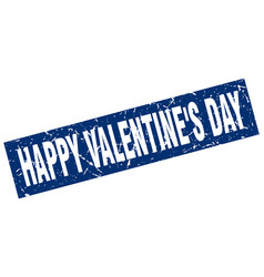 Square grunge blue happy valentines day stamp vector