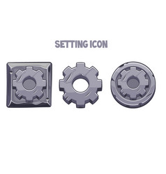 stone settings icons round and square gear vector image