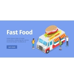 Street fast food isometric concept vector