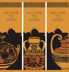 Travel banners on the theme of ancient greece vector