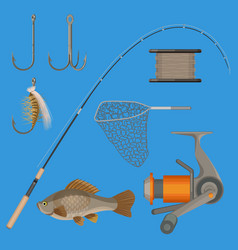 two hooks bobbin landing net spinning vector image