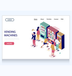 Vending machines website landing page vector