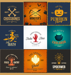 vintage halloween party cards labels or vector image