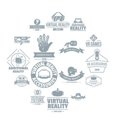 virtual reality logo icons set simple style vector image