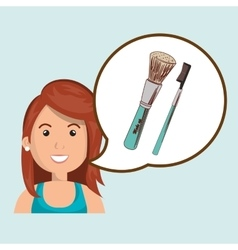 woman make up brush vector image