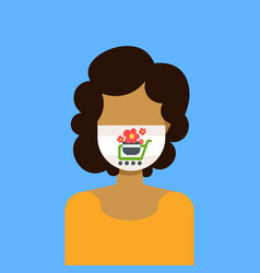 Woman wearing protective face mask with potted vector