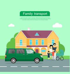 Family transport flat web banner vector