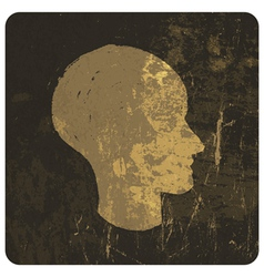 grunge head symbol vector image vector image