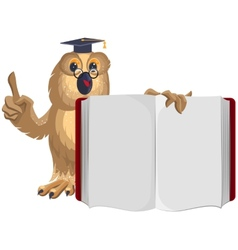 Owl teacher holding open book and shows up vector image vector image