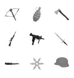 Weapon set icons in monochrome style Big vector image
