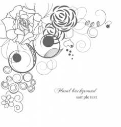 monochrome floral corner vector image vector image
