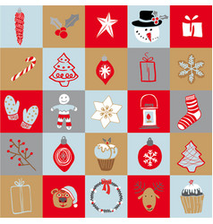 Set of doodle elements christmas vector