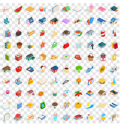 100 family icons set isometric 3d style vector image vector image
