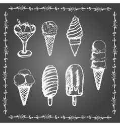 Chalk ice cream set vector image