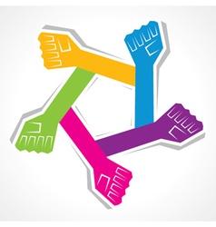 Creative unity hand background vector image