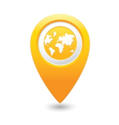 earth icon on map pointer yellow vector image