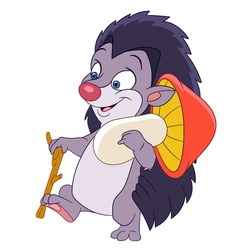happy cartoon hedgehog vector image