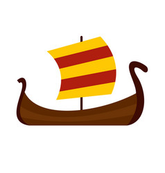 medieval boat icon flat style vector image