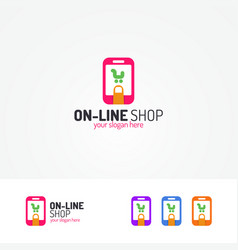on line shopping logo consisting of cart in phone vector image vector image
