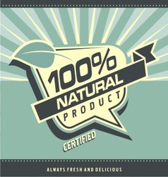 Retro label for organic food vector image