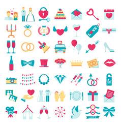 wedding love set icons vector image