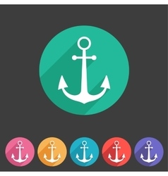 anchor flat icon sign symbol logo label set vector image vector image