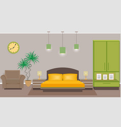 bedroom interior with furniture including bed vector image vector image