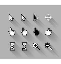 cursors with long shadows vector image