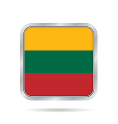 flag of lithuania metallic gray square button vector image