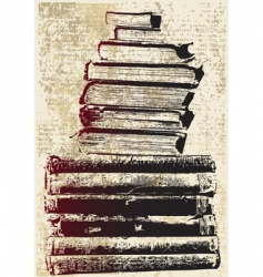 grunge book stack vector image vector image