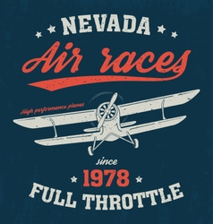 nevada t shirt with old airplane vector image vector image