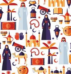 Ramadan kareem icons set of arabian flat design vector