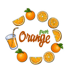 round frame of oranges and juice with place for vector image