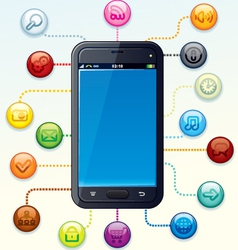 Smartphone with Apps Cloud vector image vector image