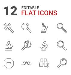 12 zoom icons vector image