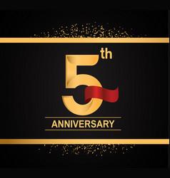 5 years anniversary logotype with premium gold vector