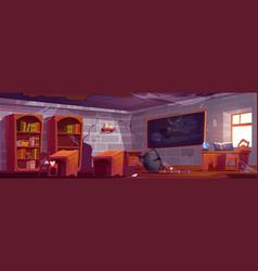 abandoned magic school empty classroom interior vector image