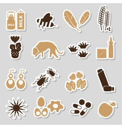 Allergy and allergens color stickers set eps10 vector