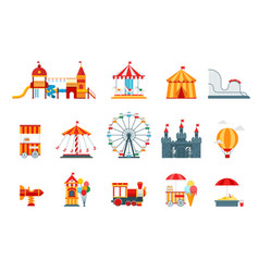 Amusement park flat elements fun icons vector