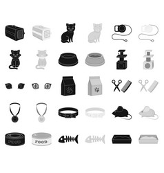 an animal cat blackmonochrome icons in set vector image