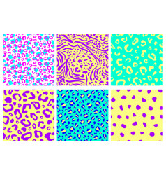 animal print seamless pattern set vector image