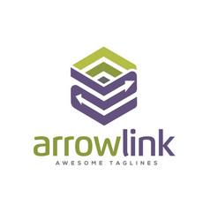 Arrows link box logo vector