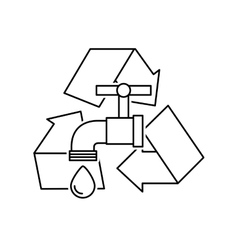 arrows recycle symbol with ecology icon vector image