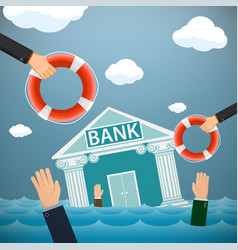 Bank building and people drown in the water vector