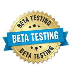 Beta testing 3d gold badge with blue ribbon vector