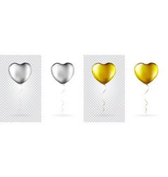 big set golden and silver heart shaped foil vector image