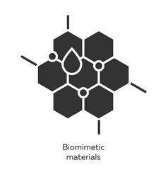 Biomimetic materials glyph icons set copying vector